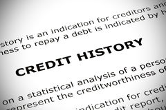 Credit History Concept. Credit History heading printed on white paper with vignette effect royalty free stock image