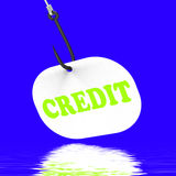 Credit On Hook Displays Financial Loan Or Bank Money Royalty Free Stock Photo