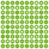 100 credit icons hexagon green. 100 credit icons set in green hexagon isolated vector illustration Royalty Free Stock Image