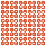 100 credit icons hexagon orange. 100 credit icons set in orange hexagon isolated vector illustration Royalty Free Stock Photos