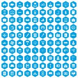100 credit icons set blue. 100 credit icons set in blue hexagon isolated vector illustration Royalty Free Stock Image