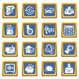 Credit icons set blue square vector. Credit icons set vector blue square isolated on white background Stock Photo