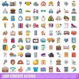 100 credit icons set, cartoon style. 100 credit icons set. Cartoon illustration of 100 credit vector icons isolated on white background Royalty Free Stock Images