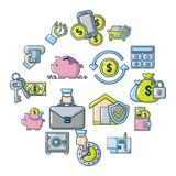 Credit icons set, cartoon style. Credit icons set. Cartoon illustration of 16 credit vector icons for web Stock Image