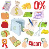Credit icons set, cartoon style Stock Photography