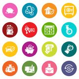 Credit icons set colorful circles vector. Credit icons set vector colorful circles isolated on white background Stock Photo