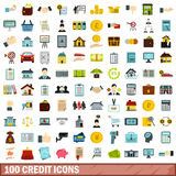 100 credit icons set, flat style Stock Photography