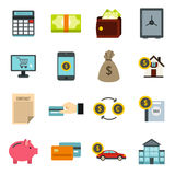 Credit icons set, flat style Royalty Free Stock Photos