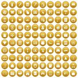 100 credit icons set gold. 100 credit icons set in gold circle isolated on white vectr illustration royalty free illustration
