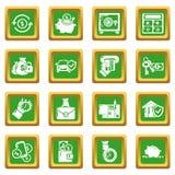 Credit icons set green square vector. Credit icons set vector green square isolated on white background Royalty Free Stock Photo