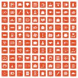 100 credit icons set grunge orange. 100 credit icons set in grunge style orange color isolated on white background vector illustration Stock Photography