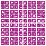 100 credit icons set grunge pink. 100 credit icons set in grunge style pink color isolated on white background vector illustration Stock Images