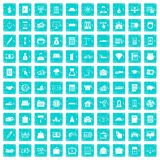 100 credit icons set grunge blue Royalty Free Stock Images