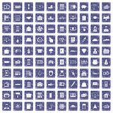 100 credit icons set grunge sapphire. 100 credit icons set in grunge style sapphire color isolated on white background vector illustration royalty free illustration