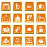 Credit icons set orange square vector. Credit icons set vector orange square isolated on white background Stock Photography