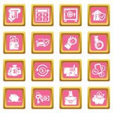 Credit icons set pink square vector. Credit icons set vector pink square isolated on white background Stock Photos