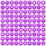 100 credit icons set purple. 100 credit icons set in purple circle isolated vector illustration Stock Photo