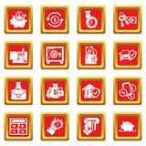 Credit icons set red square vector. Credit icons set vector red square isolated on white background Stock Photos