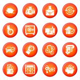 Credit icons set red vector. Credit icons set vector red circle isolated on white background Stock Image
