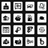 Credit icons set, simple style. Credit icons set. Simple illustration of 16 credit vector icons for web Stock Images