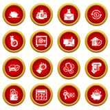 Credit icons set, simple style. Credit icons set. Simple illustration of 16 credit vector icons for web Royalty Free Stock Photos
