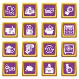 Credit icons set purple square vector. Credit icons set vector purple square isolated on white background Stock Images
