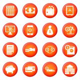 Credit icons vector set. Of red circles isolated on white background Royalty Free Stock Photography