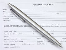Credit Inquiry. Form and pen Royalty Free Stock Photos