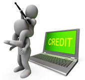 Credit Laptop Characters Show Borrowers Or Loans Royalty Free Stock Photography