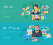 Credit Life Banner. Credit life horizontal banner set with debts on loans flat elements isolated vector illustration Stock Photos