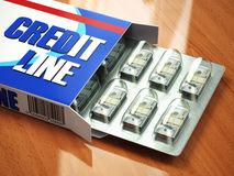 Credit line concept Pack of dollars as pills in blister pack. Stock Photo