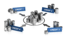 Credit or Loan Consolidation, Debt Relief. 3D illustration of credit consolidation principle over white background Stock Images