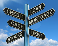 Credit Loan Mortgage Signpost Showing Borrowing Finance And Debt. Credit Loan Mortgage Signpost Shows Borrowing Finance And Debt Royalty Free Stock Image