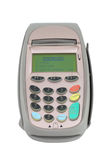 Credit machine (pos terminal). Close-up. Isolated on white Royalty Free Stock Photo
