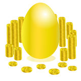 Credit and money egg gold Royalty Free Stock Images