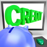 Credit On Monitor Showing Money Loan Royalty Free Stock Image