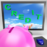 Credit On Monitor Shows Trading Money Royalty Free Stock Photo