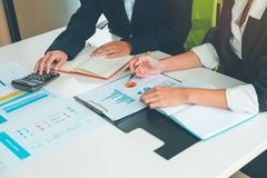 Credit Officer team working and analysis loan data chart in office, Business and Office Concept. royalty free stock photo