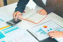 Credit Officer team working and analysis loan data chart in office, Business and Office Concept. stock photo