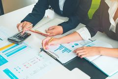Credit Officer team working and analysis loan data chart in office, Business and Office Concept. stock photography