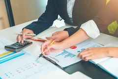 Credit Officer team working and analysis loan data chart in office, Business and Office Concept. stock photos