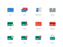 Credit and payment card colored icons on white. Pictogram collection of banking credit card and paying, money, wallet, lock and broken card. Flat design style Royalty Free Stock Image