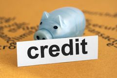 Credit and piggy bank Stock Images