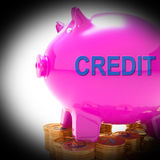 Credit Piggy Bank Coins Means Financing From Creditors Stock Photography
