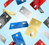 Credit Plastic Card Pattern Background. Vector. Realistic Credit Plastic Card Pattern Background on a Blue Background Banking Finance Currency Concept Electronic Stock Image