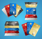 Credit Plastic Card Set. Vector Royalty Free Stock Images