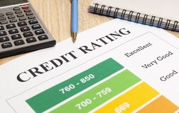 Credit rating chart with pen and calculator. Credit rating chart with pen, notebook and calculator on wooden table close-up royalty free stock photography