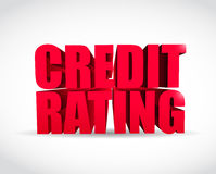 Credit rating 3d text sign illustration design. Over a white background Stock Photo