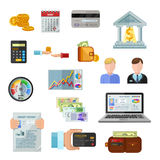 Credit Rating Icons On White Background. Credit rating flat color icons on white background with payment terminal credit history of borrower cash credit score Stock Photos