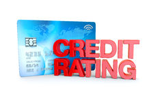 Credit rating in red on a credit card background stock illustration